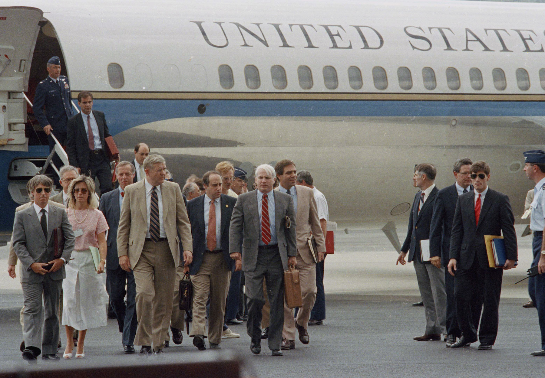 <div class='meta'><div class='origin-logo' data-origin='AP'></div><span class='caption-text' data-credit='AP Photo/John Hopper'>Congressman John Murtha and Sen. John S. McCain walk with other members of the official election observer delegation sent to Panama on May 6, 1989.</span></div>