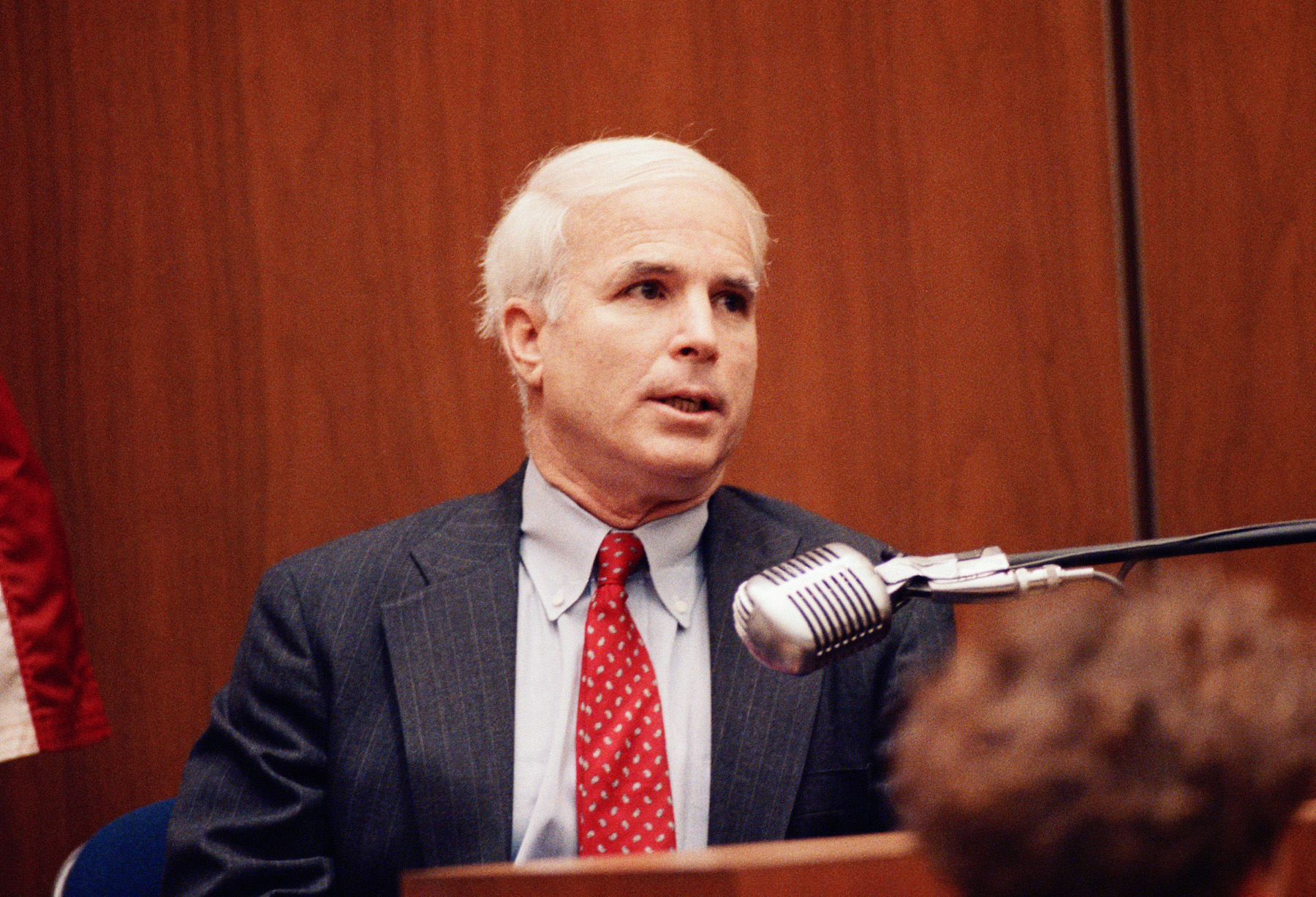 <div class='meta'><div class='origin-logo' data-origin='AP'></div><span class='caption-text' data-credit='AP Photo/Nick Ut'>U. S. Sen. John McCain, R-Ariz., testifies in a Los Angeles courtroom Friday, Oct. 26, 1991, during the trial of former Lincoln Savings and Loan head Charles Keating.</span></div>