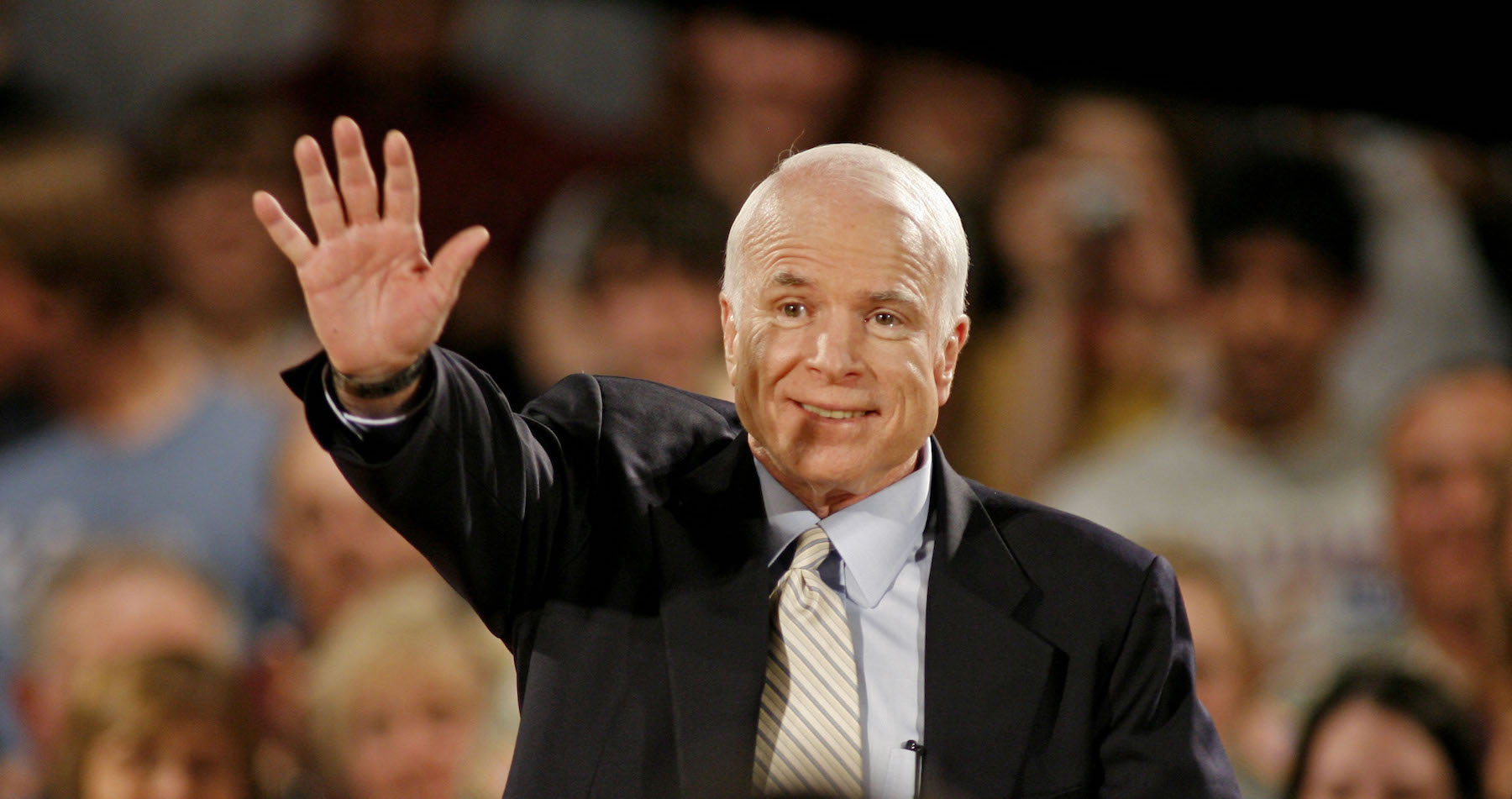 <div class='meta'><div class='origin-logo' data-origin='AP'></div><span class='caption-text' data-credit='AP Photo/Darren Hauck'>Republican presidential candidate Sen. John McCain, R-Ariz., waves to supporters before speaking at a town hall-style meeting on May 29, 2008, in Greendale, Wisc.</span></div>