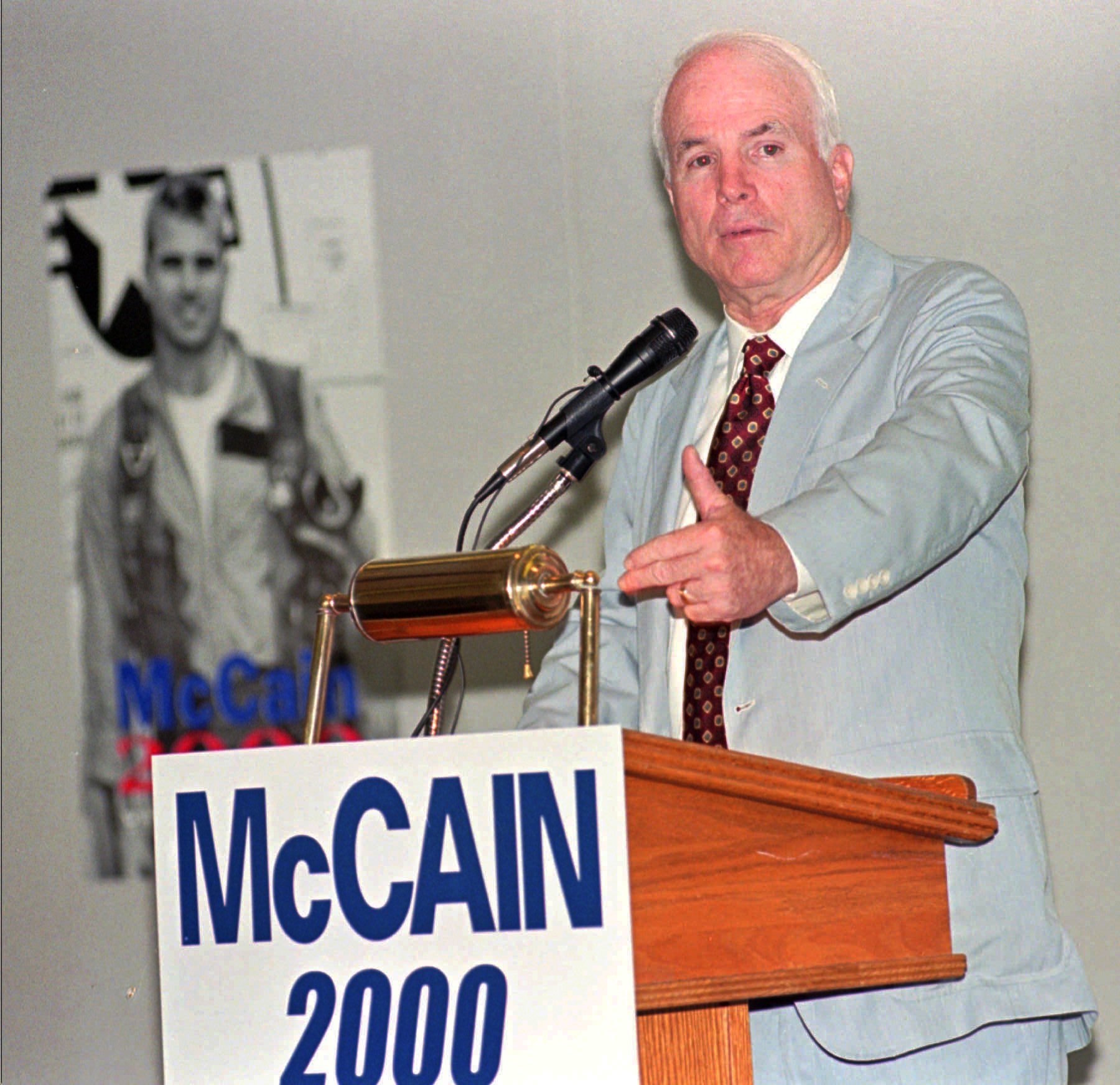 <div class='meta'><div class='origin-logo' data-origin='AP'></div><span class='caption-text' data-credit='AP Photo/Ken Levine'>Presidential hopeful Sen. John McCain, R-Ariz.,  speaks to senior citizens in Sun City, Ariz. on Wednesday, June 2, 1999.</span></div>