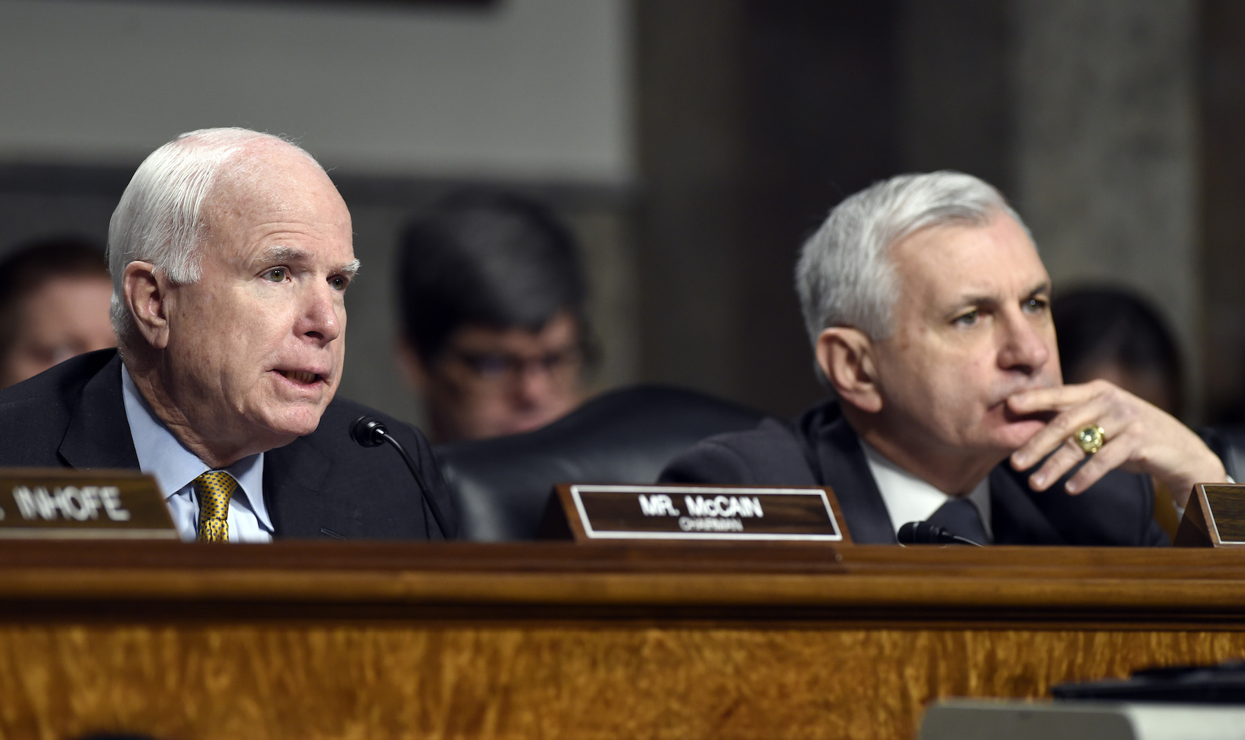 <div class='meta'><div class='origin-logo' data-origin='AP'></div><span class='caption-text' data-credit='AP Photo/Susan Walsh'>Sen. John McCain, R-Ariz., left, asks a question of Ashton Carter, President Barack Obama's choice to head the Defense Department, as he testifies on Capitol Hill on Feb. 4, 2015.</span></div>