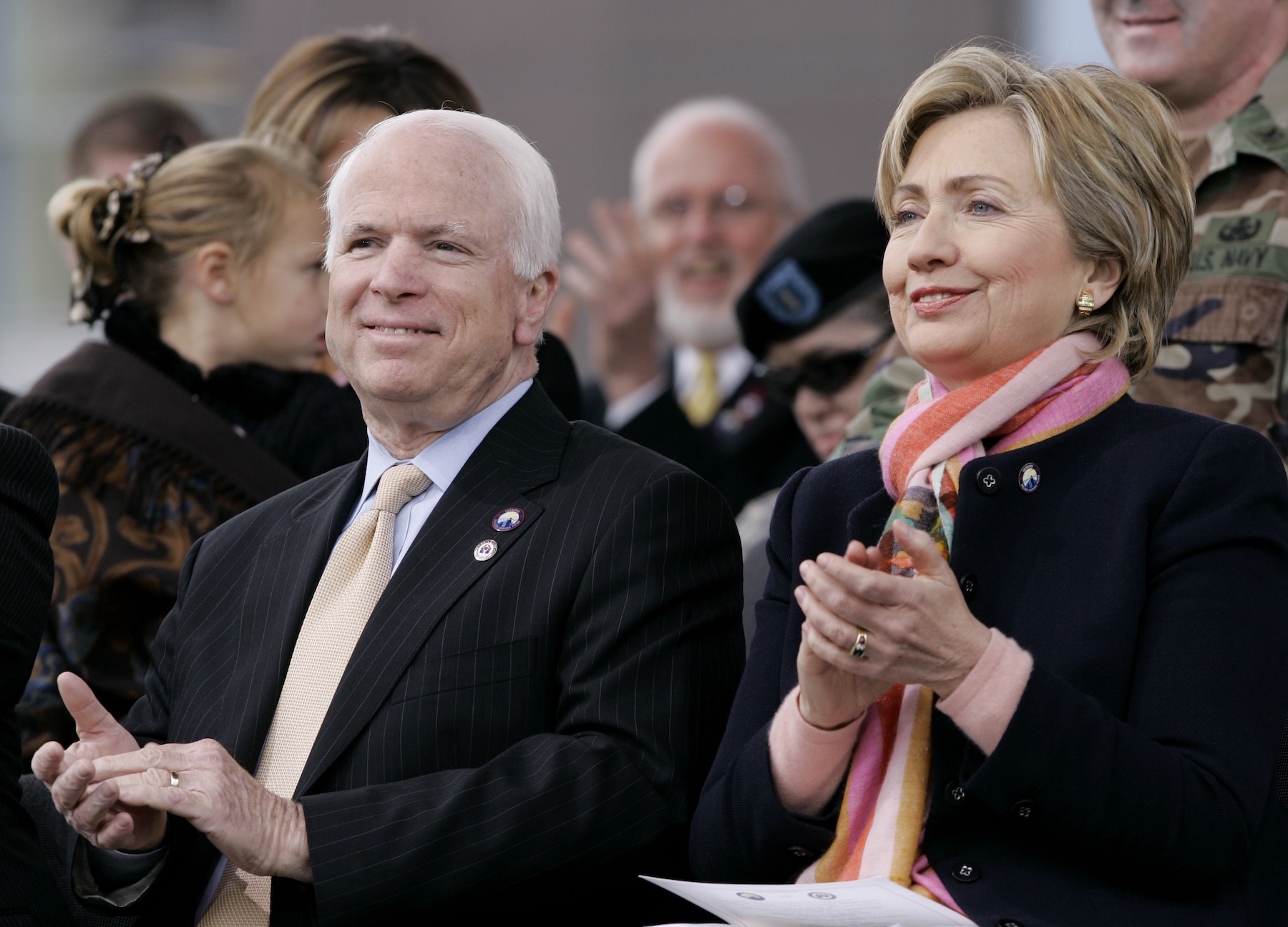 <div class='meta'><div class='origin-logo' data-origin='AP'></div><span class='caption-text' data-credit='AP Photo/Eric Gay'>Sen. John McCain and Sen. Hillary Clinton take part in the official dedication of the Center for the Intrepid at Fort Sam Houston in San Antonio, Monday, Jan. 29, 2007.</span></div>