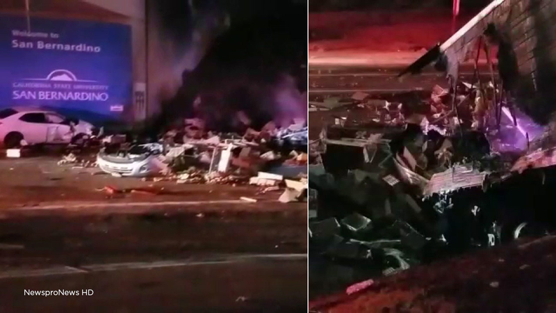 Hit-and-run driver causes fiery big rig crash on 215 Fwy in IE