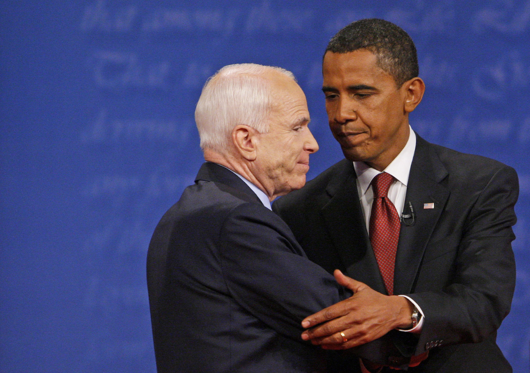 <div class='meta'><div class='origin-logo' data-origin='AP'></div><span class='caption-text' data-credit='AP Photo/Charles Dharapak'>Sen. John McCain and Sen. Barack Obama shake hands at the conclusion of the presidential debate on Friday, Sept. 26, 2008.</span></div>