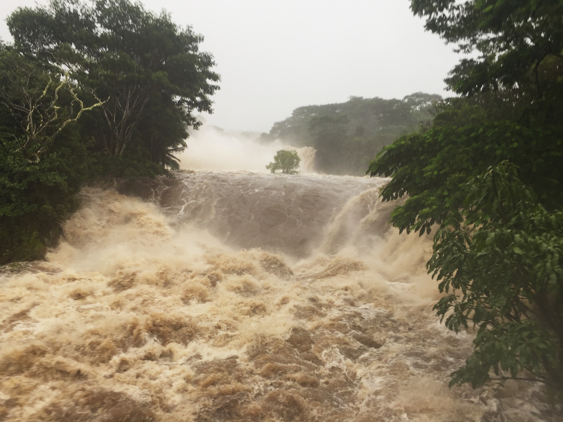 <div class='meta'><div class='origin-logo' data-origin='AP'></div><span class='caption-text' data-credit='by Jessica Henricks via AP'>This photo provided by Jessica Henricks shows flooding Thursday, August 23, 2018, Wailuku River near Hilo, Hawaii.</span></div>