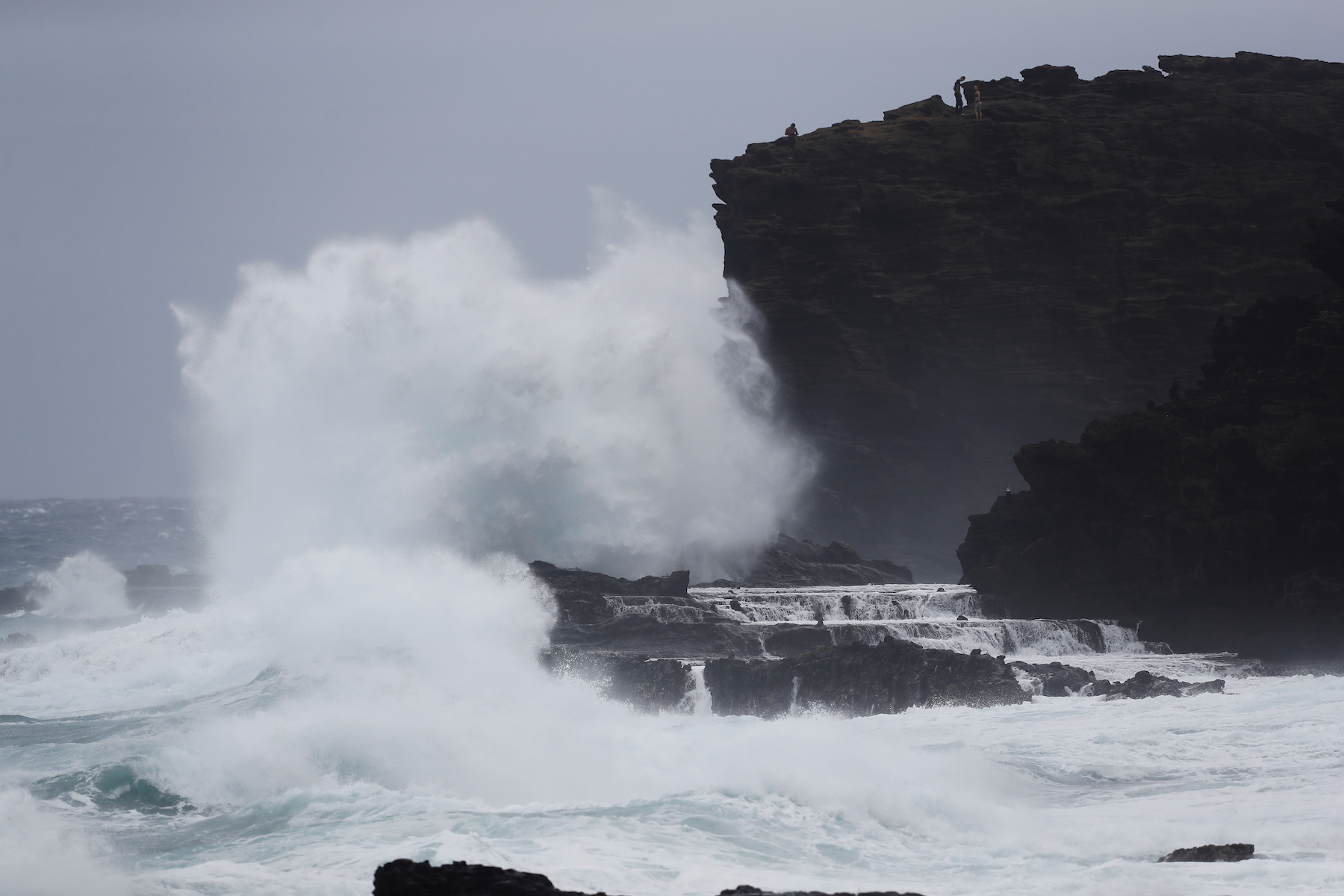 <div class='meta'><div class='origin-logo' data-origin='AP'></div><span class='caption-text' data-credit='AP Photo/Marco Garcia'>Huge waves slam the cliffs near the Halona Blowhole, Aug. 24, 2018, in Waimanalo, Hawaii. As Hurricane Lane approaches Oahu, large oceans swells have impacted the coastline.</span></div>