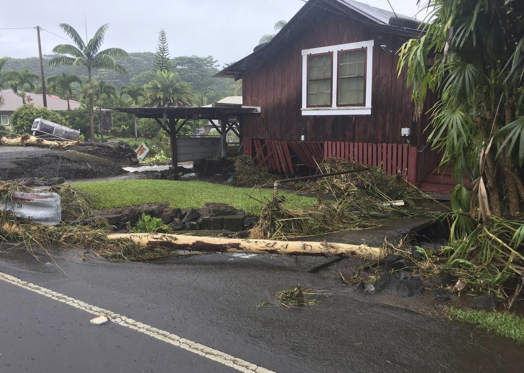 <div class='meta'><div class='origin-logo' data-origin='AP'></div><span class='caption-text' data-credit='Jessica Henricks via AP'>This photo provided by Jessica Henricks shows damage from Hurricane Lane Friday, Aug. 24, 2018, near Hilo, Hawaii.</span></div>