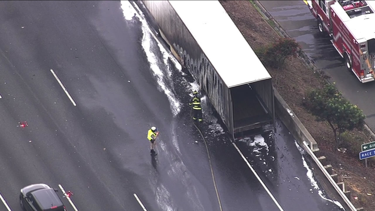 A big rig fire on I-80 at Gilman Street in Berkeley is causing delays and lane closures Friday afternoon.