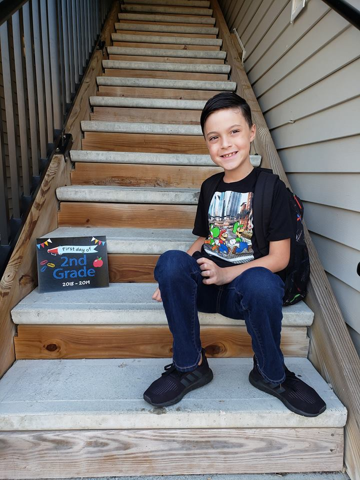 """<div class=""""meta image-caption""""><div class=""""origin-logo origin-image none""""><span>none</span></div><span class=""""caption-text"""">It's Behnjamin's first day of school in a new state after moving from AZ to NC! (Rachel Creasman)</span></div>"""