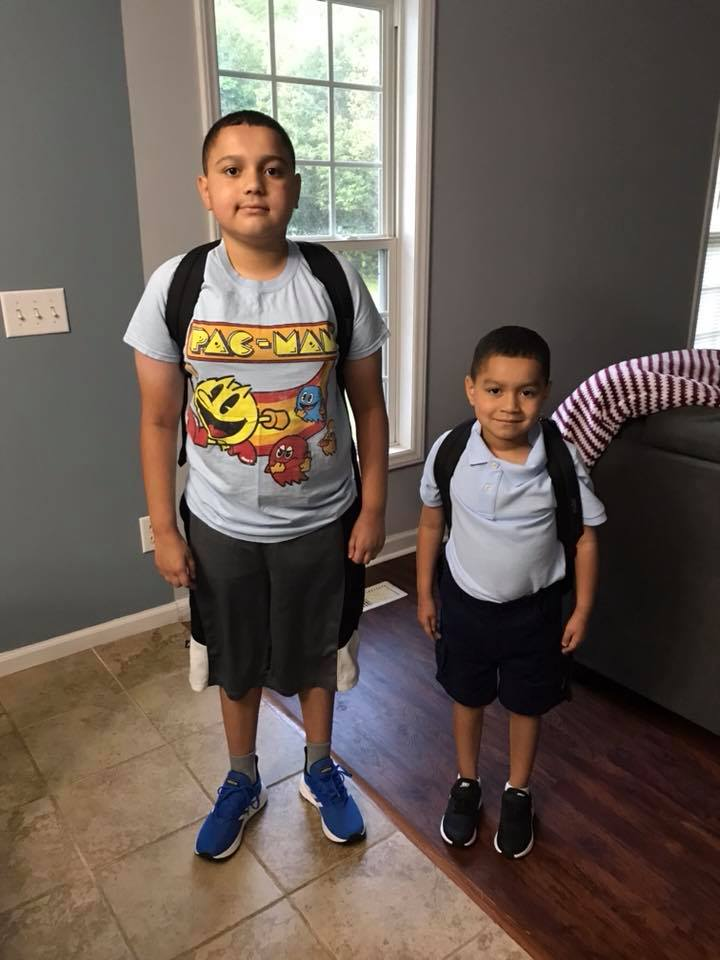 "<div class=""meta image-caption""><div class=""origin-logo origin-image none""><span>none</span></div><span class=""caption-text"">First day of school for this first grader and middle schooler! (Chrissie Quez)</span></div>"