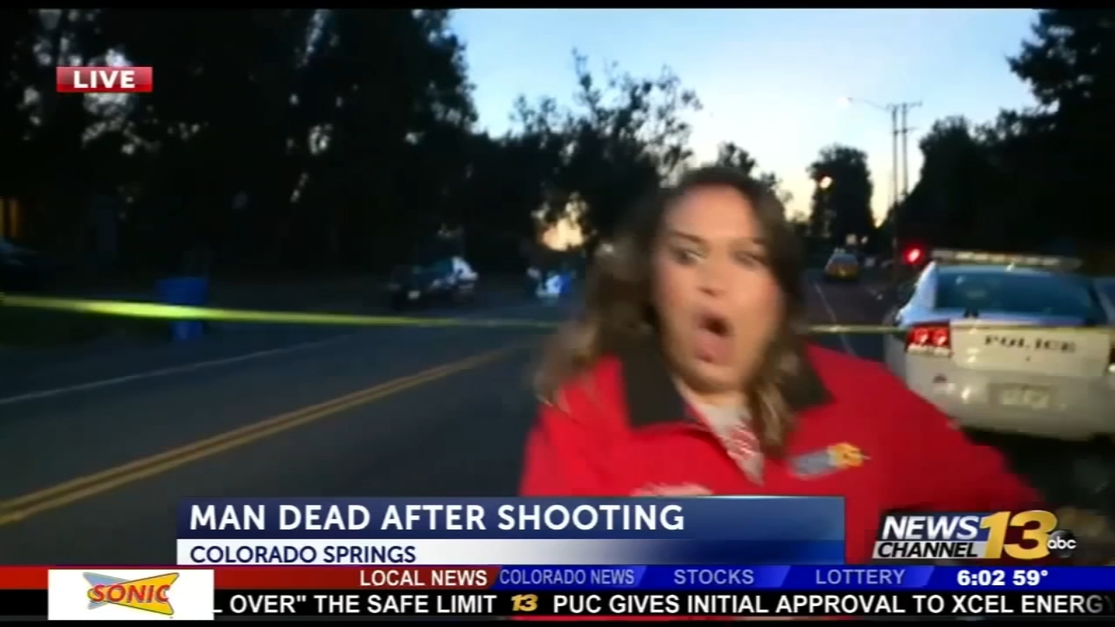 News crew nearly hit by car on live TV