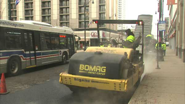 """<div class=""""meta image-caption""""><div class=""""origin-logo origin-image """"><span></span></div><span class=""""caption-text"""">The city is racing to repave long stretches of arterial streets in Chicago to fix potholes before winter arrives in full force. (WLS Photo)</span></div>"""