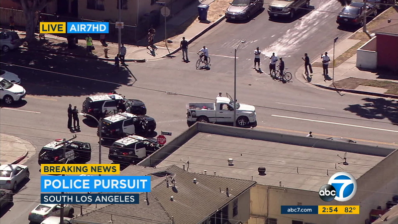 Suspect arrested after slow-speed chase through South LA