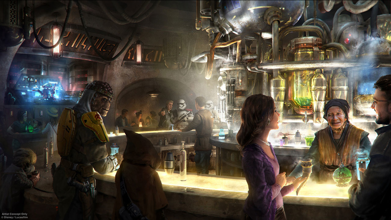 A conceptual rendering of the interior of Oga's Cantina shows all sorts of characters at the alien-friendly bar planned for Star Wars: Galaxy's Edge.