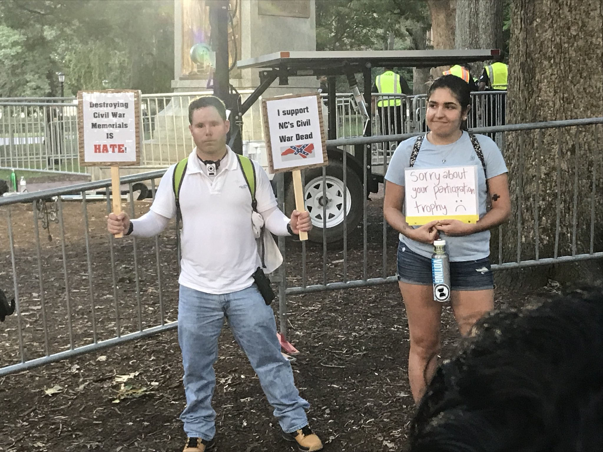 <div class='meta'><div class='origin-logo' data-origin='WTVD'></div><span class='caption-text' data-credit=''>Demonstrations at the Silent Sam statue site on the UNC campus Thursday.</span></div>