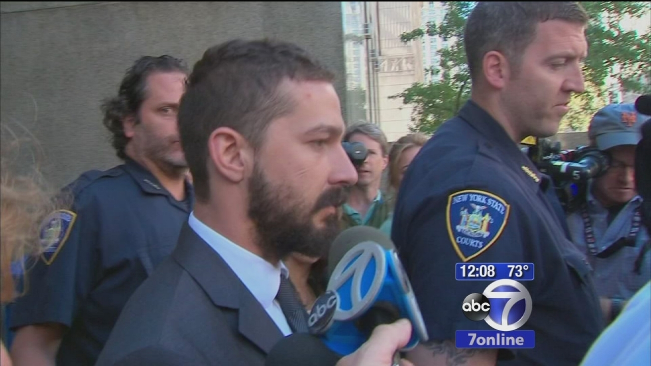Shia LaBeouf appears outside a New York courthouse in this undated file photo.
