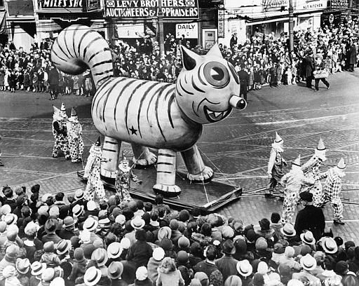 <div class='meta'><div class='origin-logo' data-origin='none'></div><span class='caption-text' data-credit=''>An outdoor float of a big cat makes its way down a street during the Thanksgiving Day Parade in New York City on Nov. 26, 1931.</span></div>