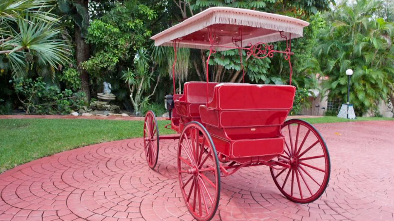 A carriage given to Burt Reynolds from Dolly Parton is seen. It is one of the many items Reynolds will auction off in December 2014.