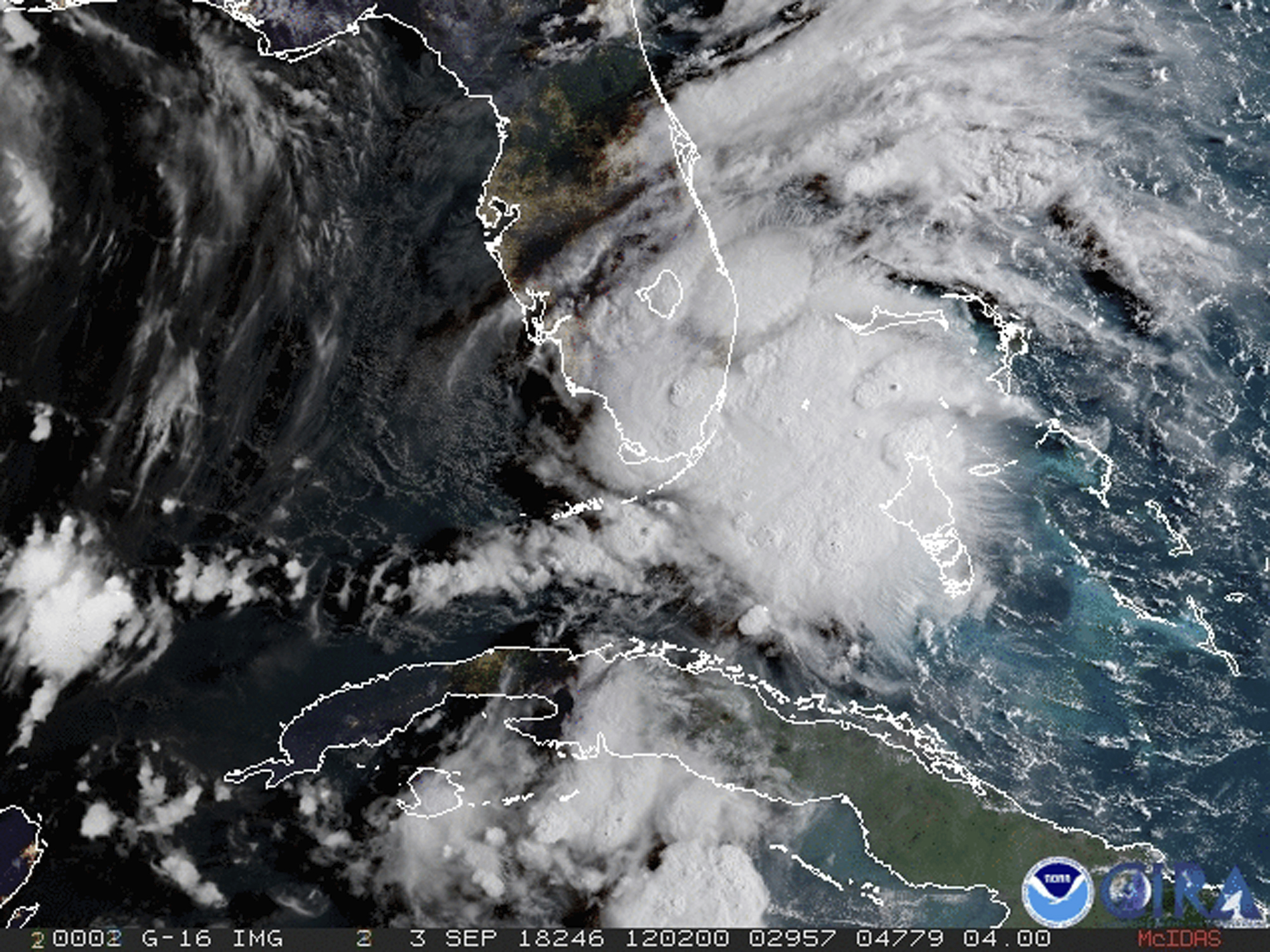 <div class='meta'><div class='origin-logo' data-origin='none'></div><span class='caption-text' data-credit='NOAA via AP'>In this image released by NOAA's GOES-16 on Monday, Sept. 3, 2018, Tropical Storm Gordon appears south of Florida.</span></div>