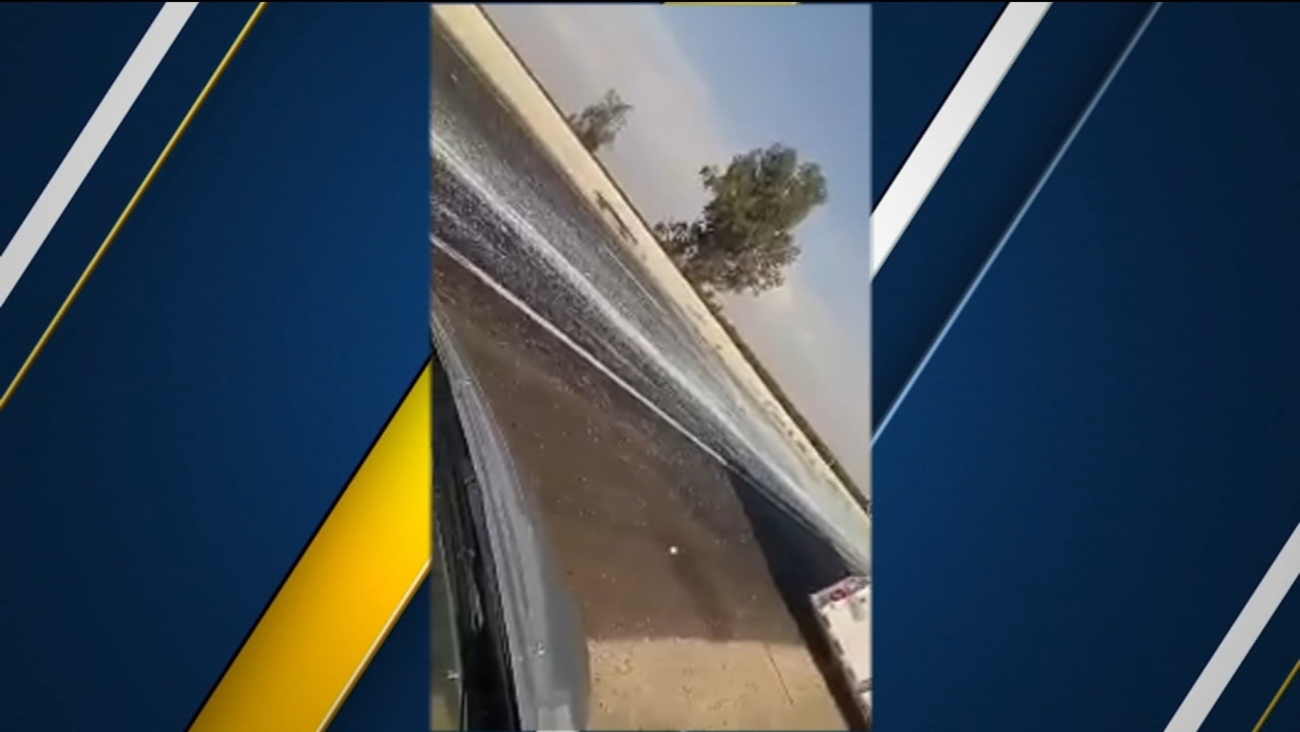 Glass Covers All Lanes Of Southbound Highway 99 Between Kingsburg And Traver