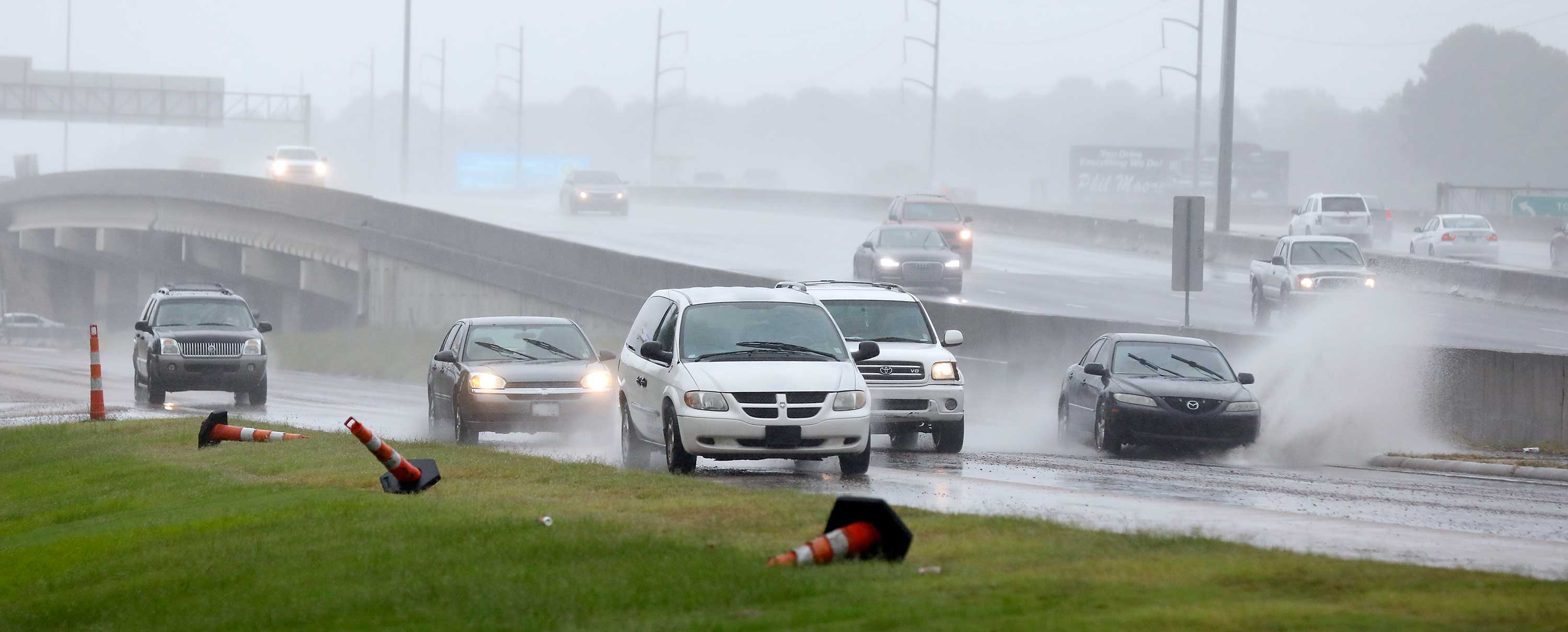 <div class='meta'><div class='origin-logo' data-origin='none'></div><span class='caption-text' data-credit='Rogelio V. Solis/AP Photo'>Accumulated rain from what is now Tropical Depression Gordon, makes for a big splash across a frontage road along I-55 in Jackson, Miss., Wednesday, Sept. 5, 2018.</span></div>
