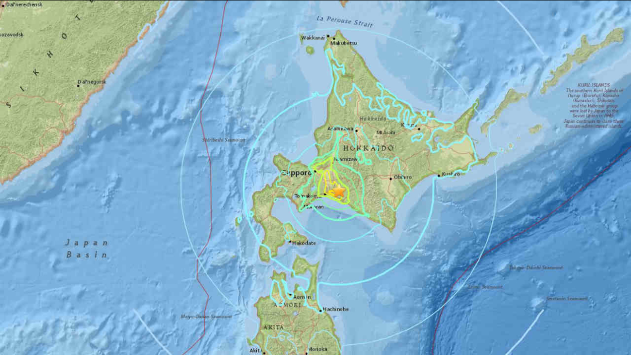 A USGS map shows the location of an earthquake in Japan on Thursday, September 5, 2018.