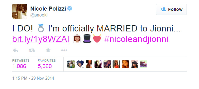 A tweet from Nicole 'Snooki' Polizzi announcing her marriage on Saturday, Nov. 29, 2014.