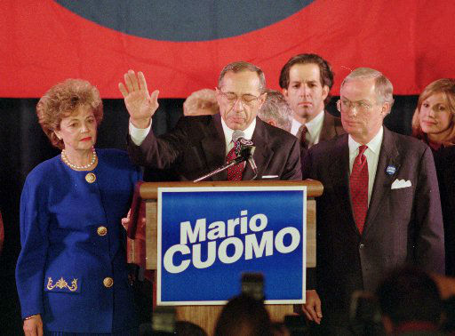 """<div class=""""meta image-caption""""><div class=""""origin-logo origin-image """"><span></span></div><span class=""""caption-text"""">New York Gov. Mario Cuomo concedes to his Republican opponent George Pataki at his election night headquarters in New York's Sheraton Hotel Tuesday, Nov. 8, 1994.</span></div>"""