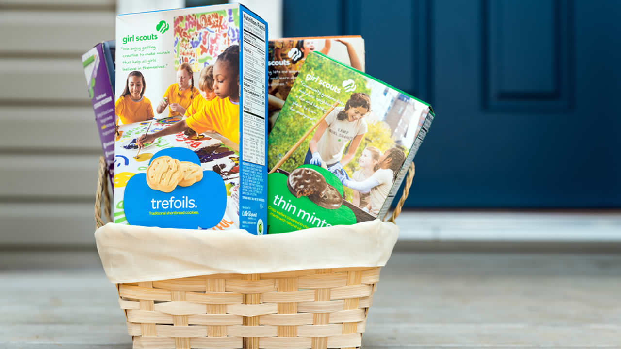 Basket of Girl Scout cookies.