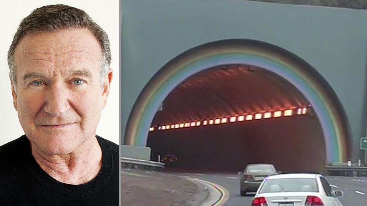 "Robin Williams poses during ""Happy Feet"" press event in Beverly Hills in 2011 (left), Waldo Tunnel in Marin County (right)."