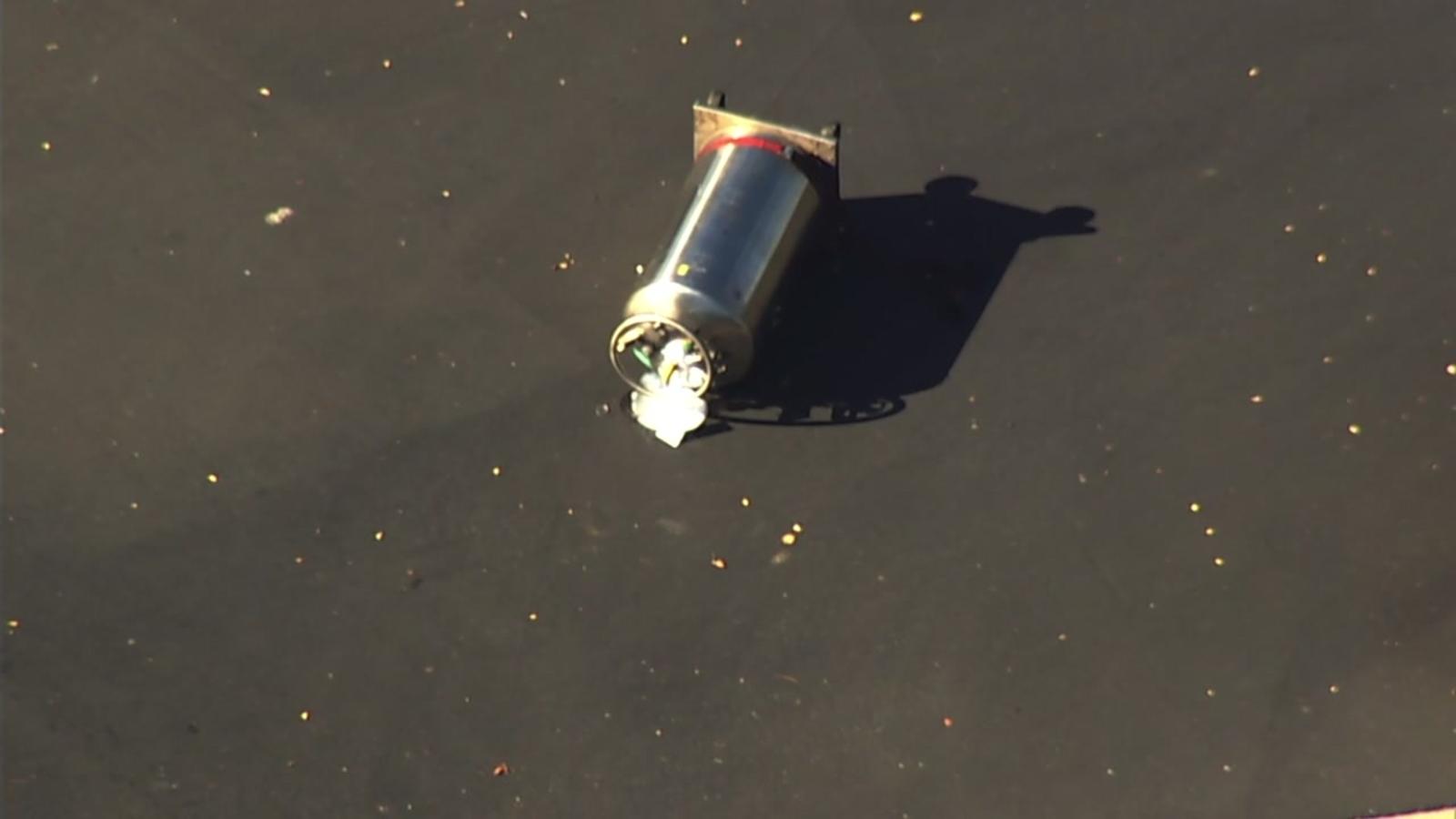 Liquid nitrogen tank falls off truck, creates hazmat situation in Pleasanton