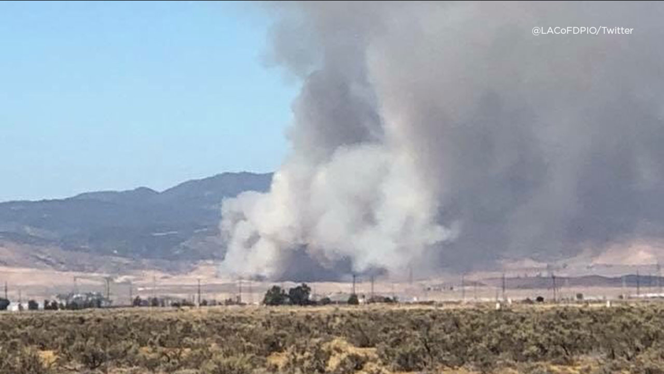 Smoke is seen from the Fairmont Fire in the Antelope Valley on Sunday, Sept. 9, 2018.