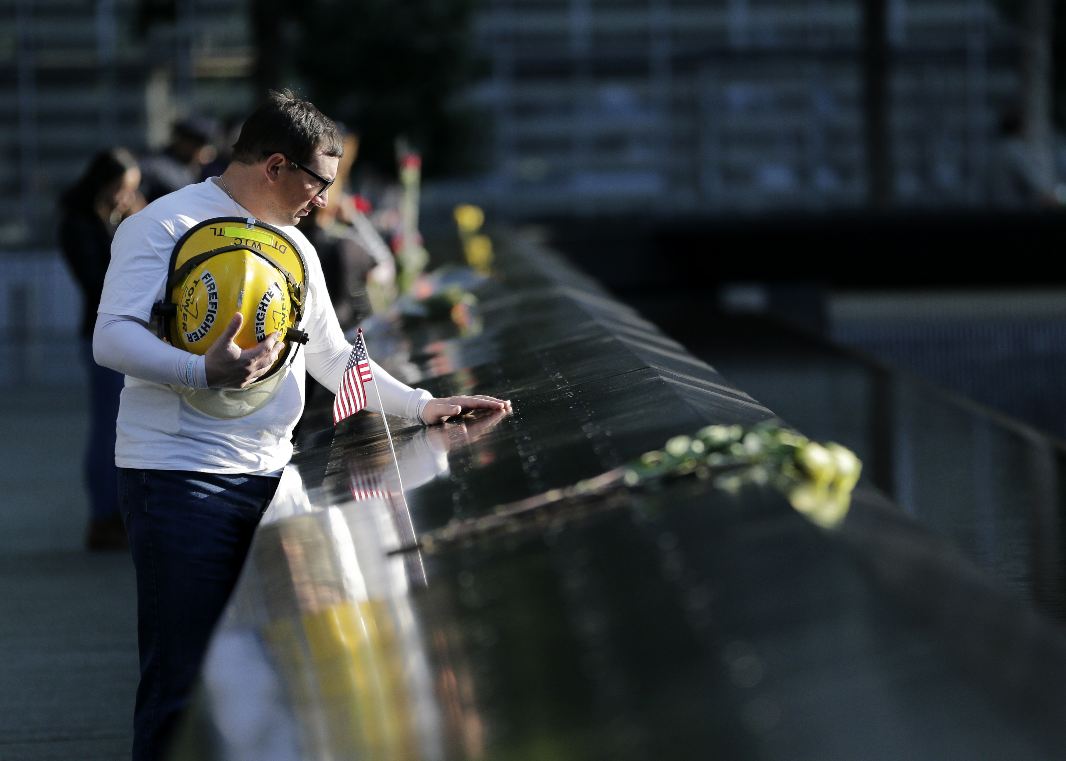 "<div class=""meta image-caption""><div class=""origin-logo origin-image none""><span>none</span></div><span class=""caption-text"">James Taormina, whose brother Dennis Taormina was killed during the Sept. 11 attacks stands by the side of the north waterfall pool on Monday, Sept. 11, 2017. (AP Photo/Seth Wenig)</span></div>"