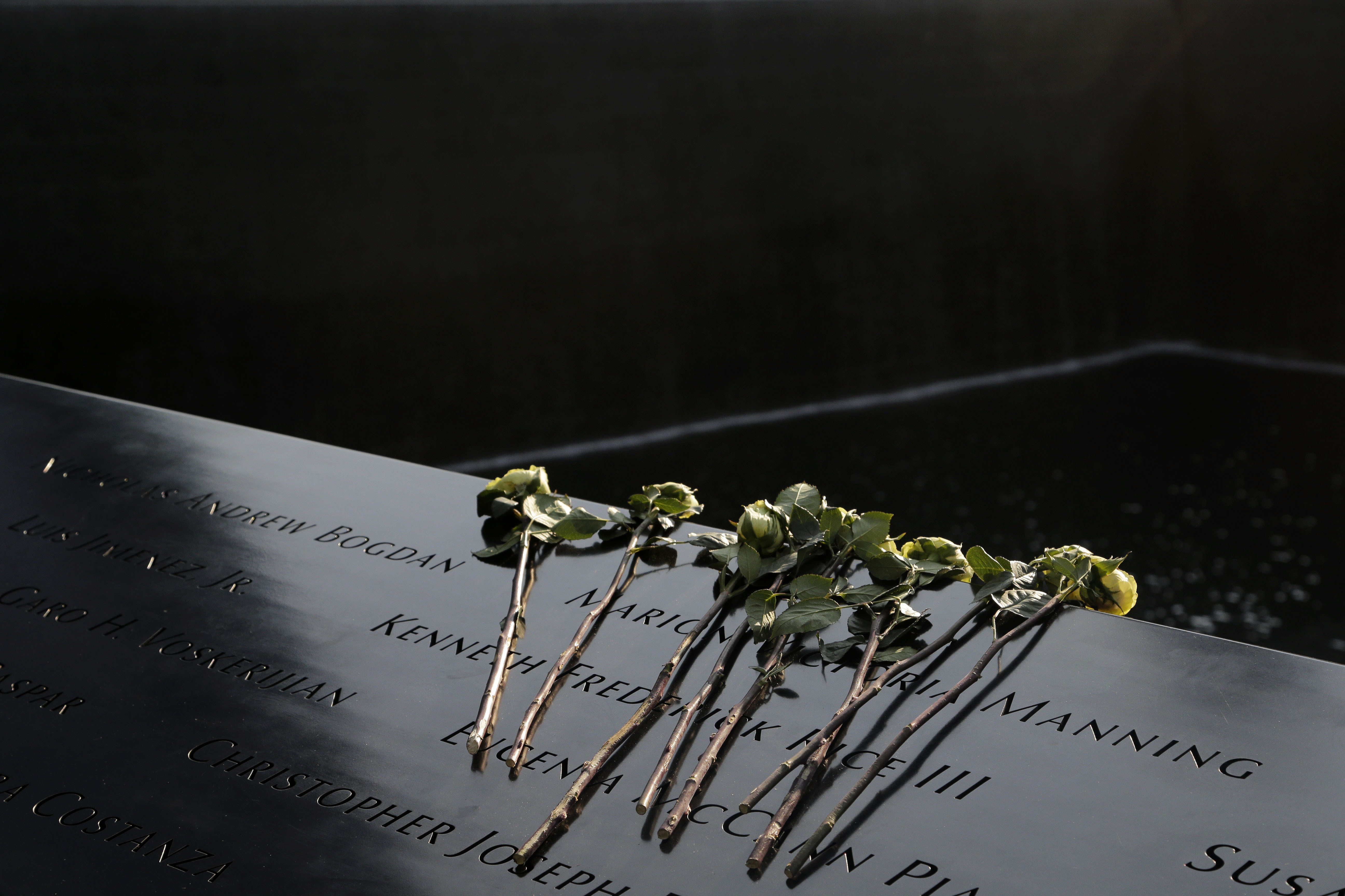 "<div class=""meta image-caption""><div class=""origin-logo origin-image none""><span>none</span></div><span class=""caption-text"">Flowers lay over the names of the victims of the 9/11 terrorist attacks before a ceremony at ground zero in New York, Monday, Sept. 11, 2017. (AP Photo/Seth Wenig)</span></div>"