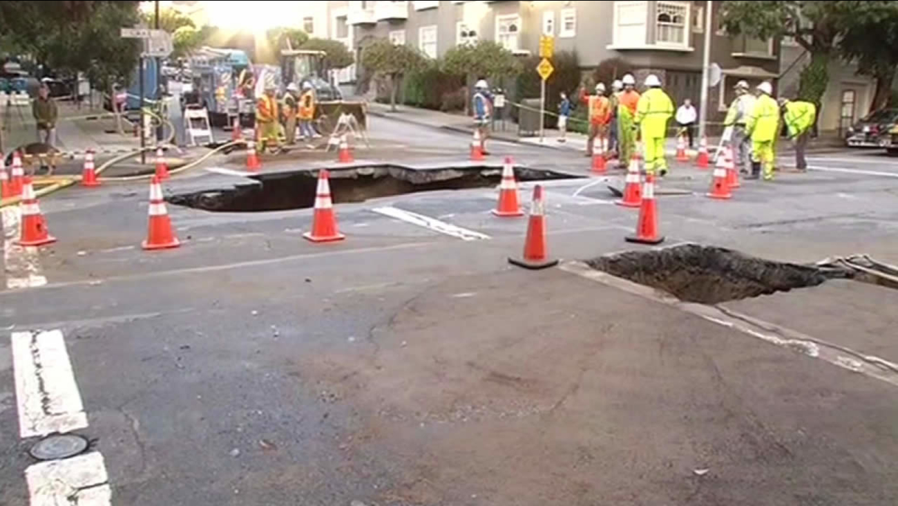 A sinkhole opened up at 6th Ave. and Lake St. in San Francisco on Wednesday, Dec. 3, 2014.