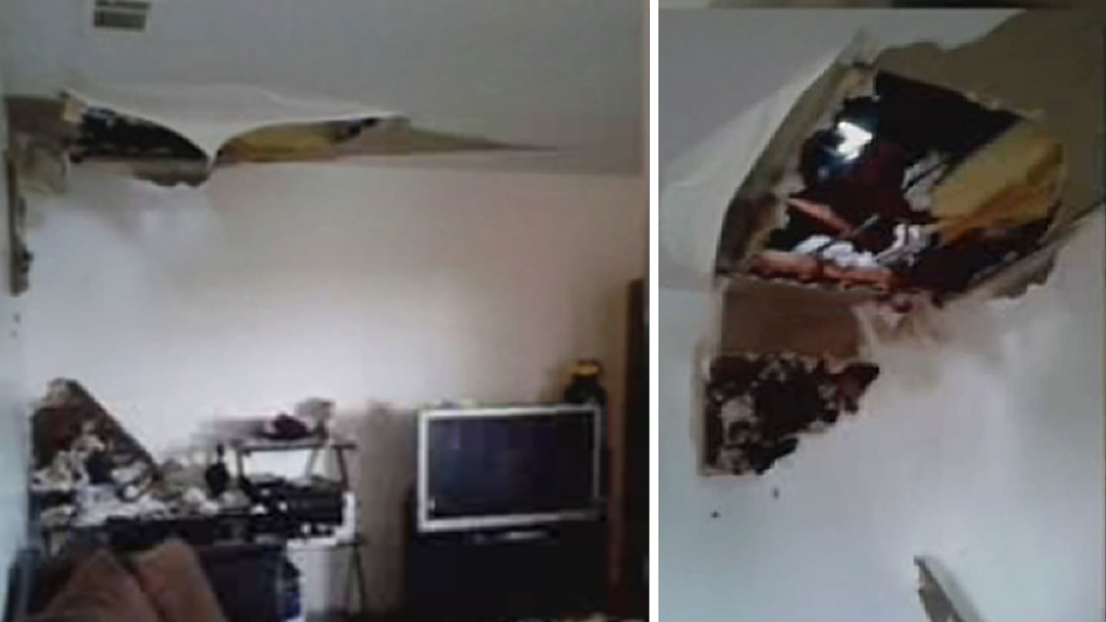 Heavy Rains Cause Leaking Roof Of