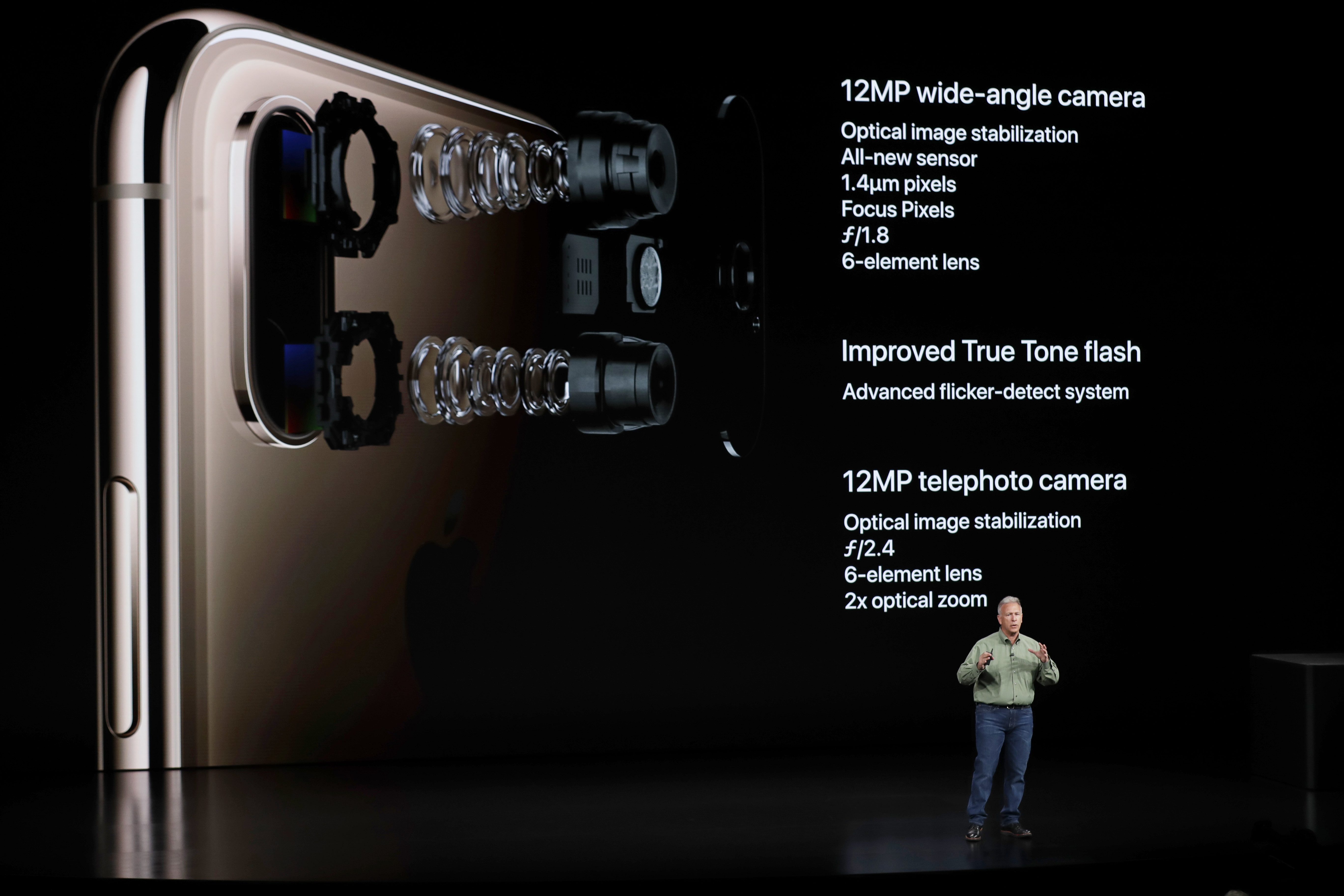 <div class='meta'><div class='origin-logo' data-origin='none'></div><span class='caption-text' data-credit='AP Photo/Marcio Jose Sanchez'>Phil Schiller speaks about the camera on the Apple iPhone XS during an event to announce new Apple products Wednesday, Sept. 12, 2018, in Cupertino, Calif.</span></div>