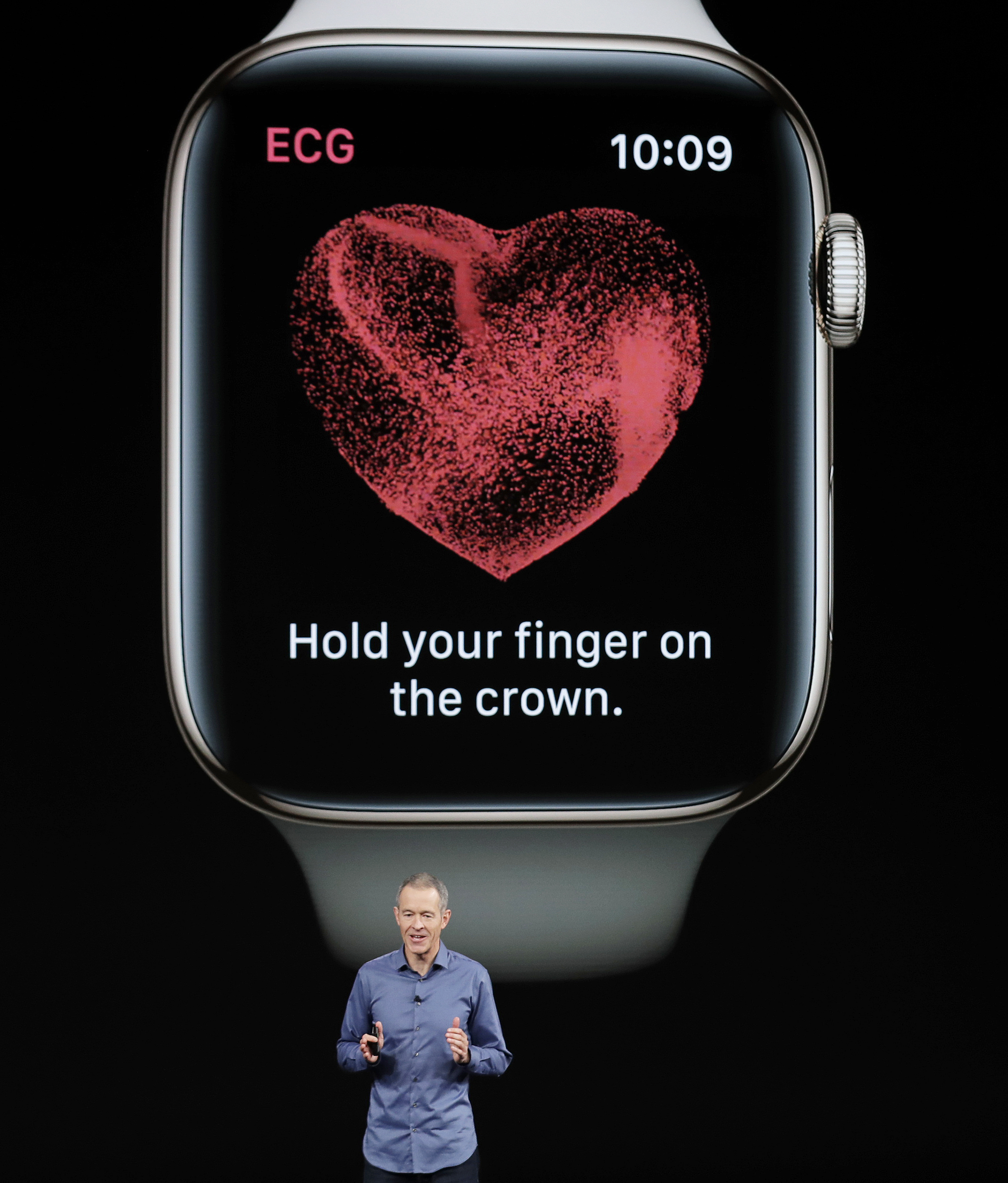 <div class='meta'><div class='origin-logo' data-origin='none'></div><span class='caption-text' data-credit='AP Photo/Marcio Jose Sanchez'>Jeff Williams speaks about the Apple Watch Series 4 at the Steve Jobs Theater during an event to announce new Apple products Wednesday, Sept. 12, 2018, in Cupertino, Calif.</span></div>