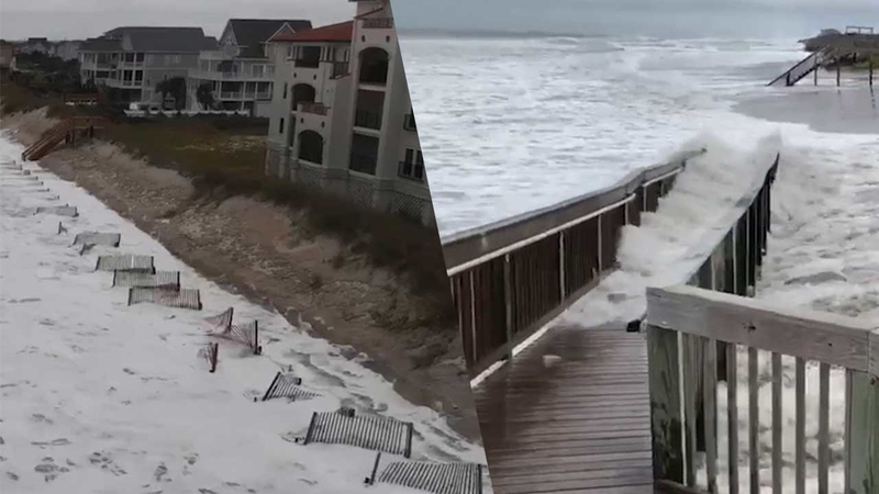 Hurricane Florence waves pummel North Topsail Beach on showing map of oak island nc, beaach topsail nc, map of north topsail island nc,