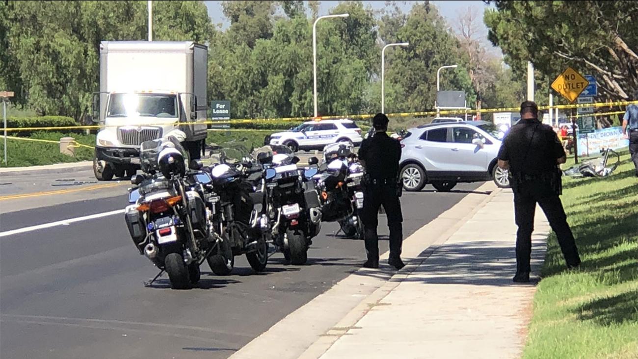 The scene of a double-fatal crash in Irvine on Thursday, Sept. 13, 2018.