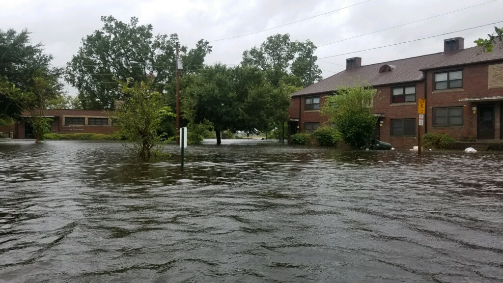 <div class='meta'><div class='origin-logo' data-origin='WTVD'></div><span class='caption-text' data-credit='Courtesy of Sabrina Bengel'>Flooding in New Bern, N.C. on Thursday from Hurricane Florence.</span></div>