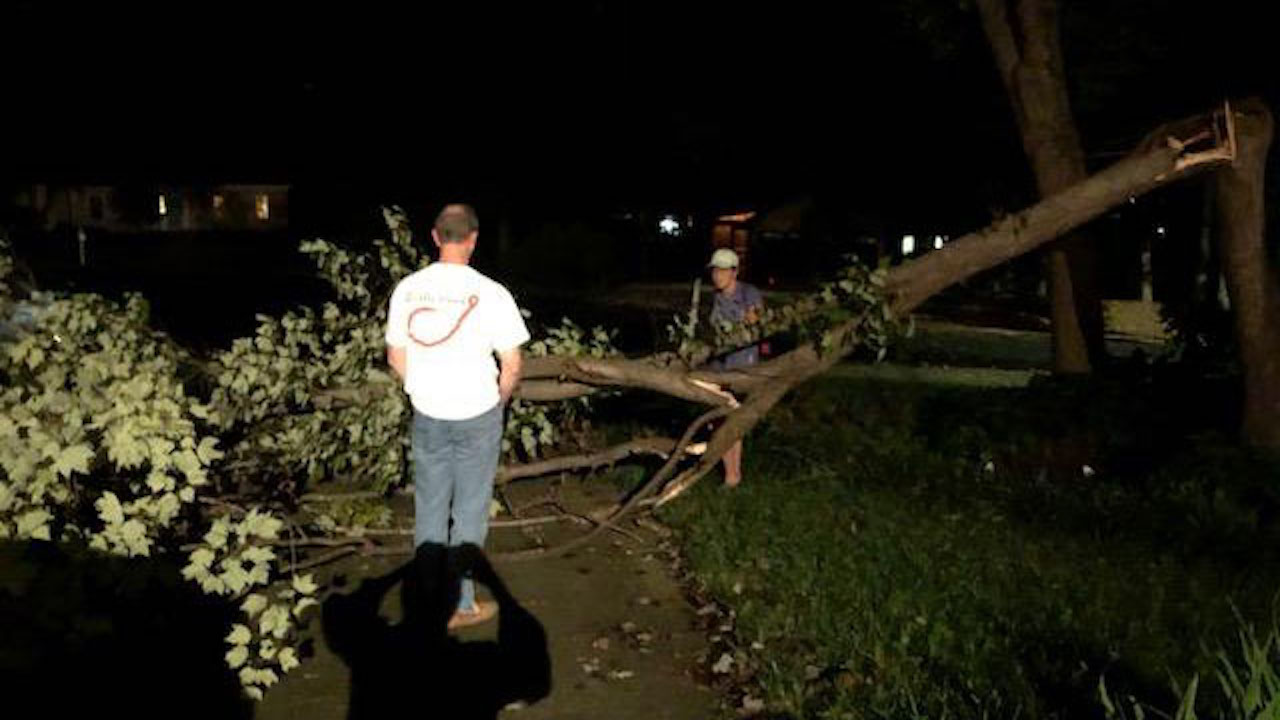"<div class=""meta image-caption""><div class=""origin-logo origin-image wtvd""><span>WTVD</span></div><span class=""caption-text"">Storm damage and downed trees in the Stonehenge neighborhood of Raleigh, North Carolina. (Sara Hood)</span></div>"