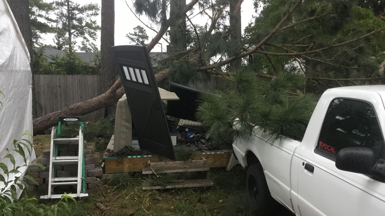 "<div class=""meta image-caption""><div class=""origin-logo origin-image wtvd""><span>WTVD</span></div><span class=""caption-text"">Downed trees and wind damage in Sanford, North Carolina during Hurricane Florence. (Andrea Frederick)</span></div>"