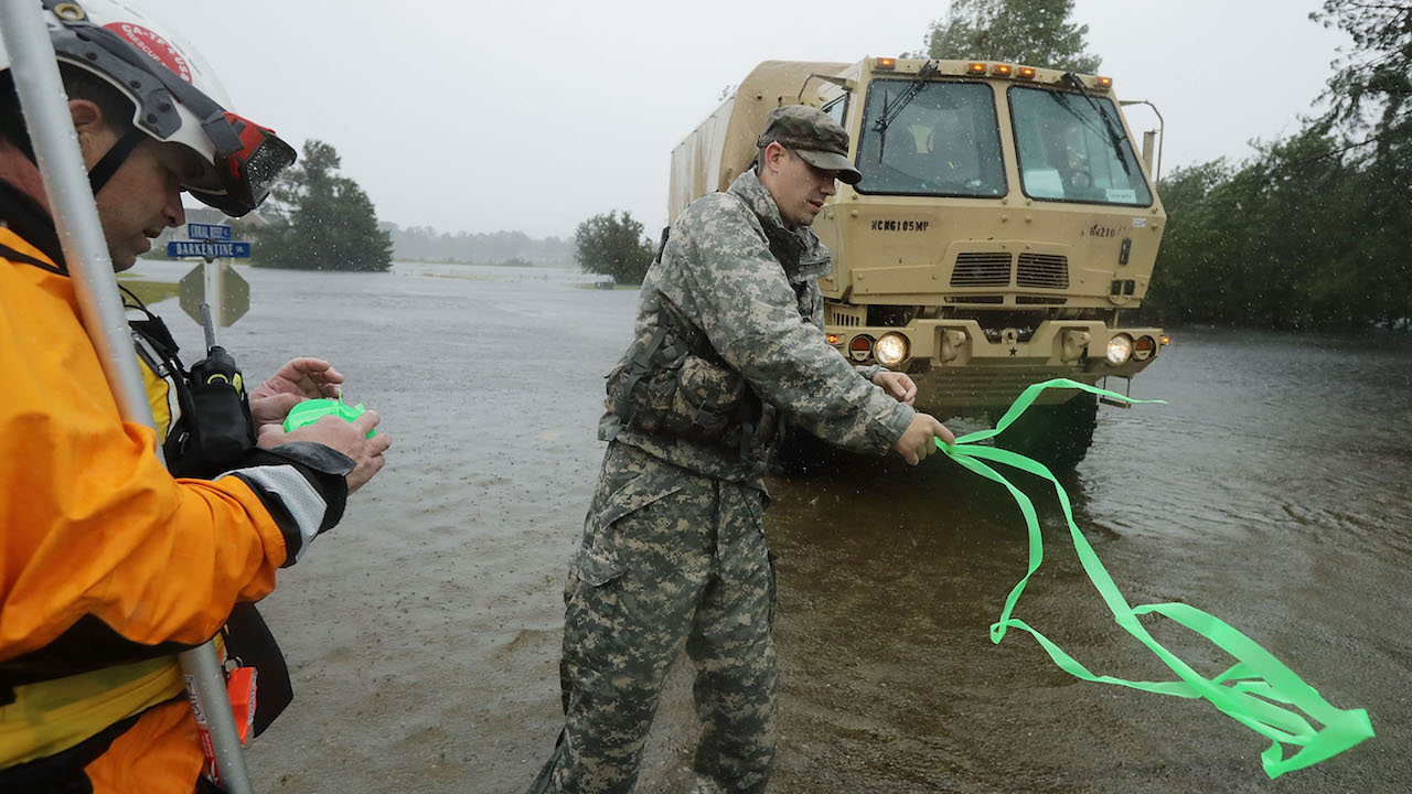 <div class='meta'><div class='origin-logo' data-origin='Creative Content'></div><span class='caption-text' data-credit='Chip Somodevilla/Getty Images'>Members of the FEMA Urban Search & Rescue Task Force 4 and soldiers from the North Carolina National Guard search homes for evacuees in Fairfield Harbour during Hurricane Florence.</span></div>