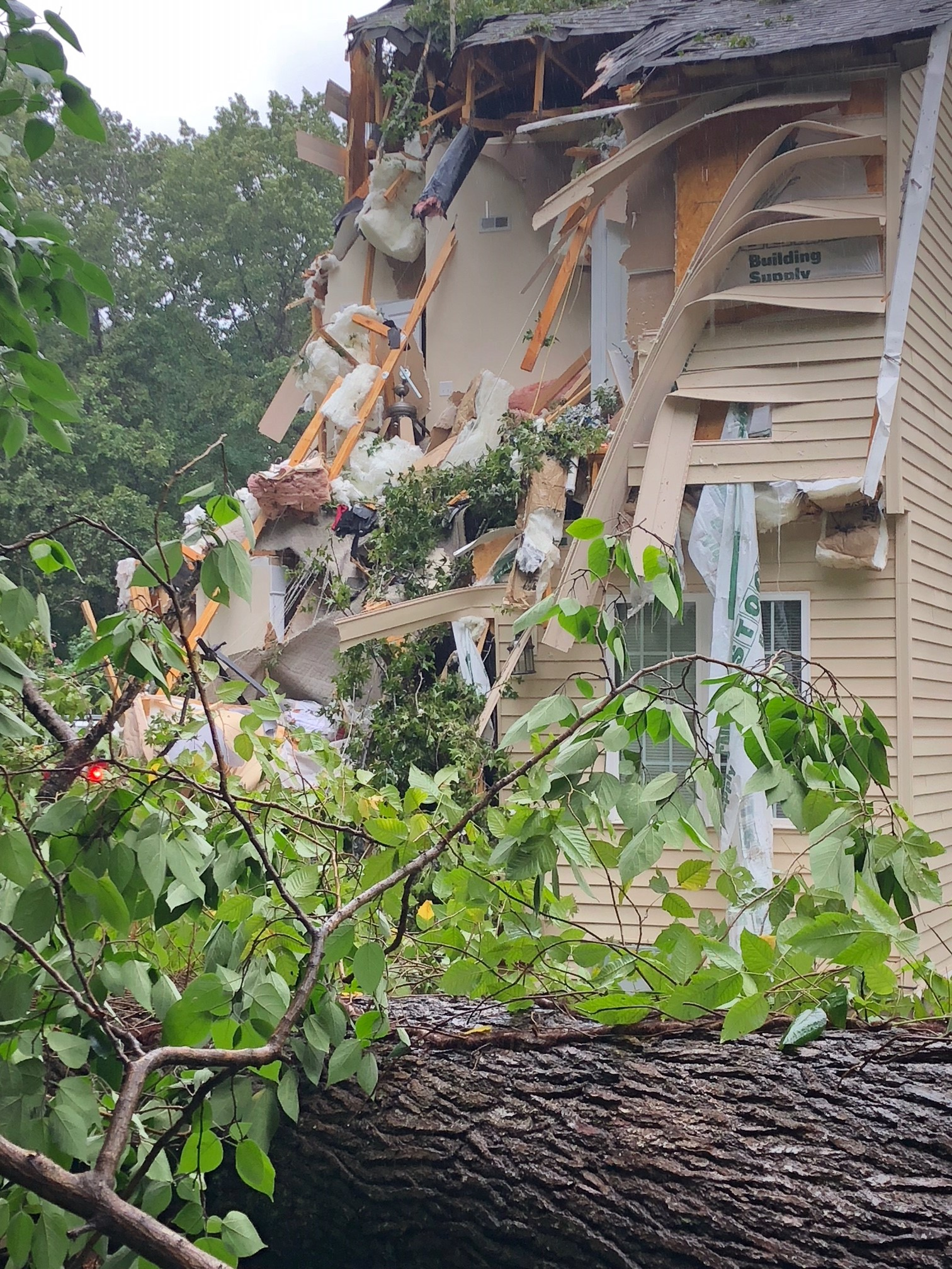 <div class='meta'><div class='origin-logo' data-origin='WTVD'></div><span class='caption-text' data-credit='Town of Wake Forest'>A home in Wake Forest is severely damaged by a fallen tree as Florence's outer bands lash the Triangle on Friday.</span></div>