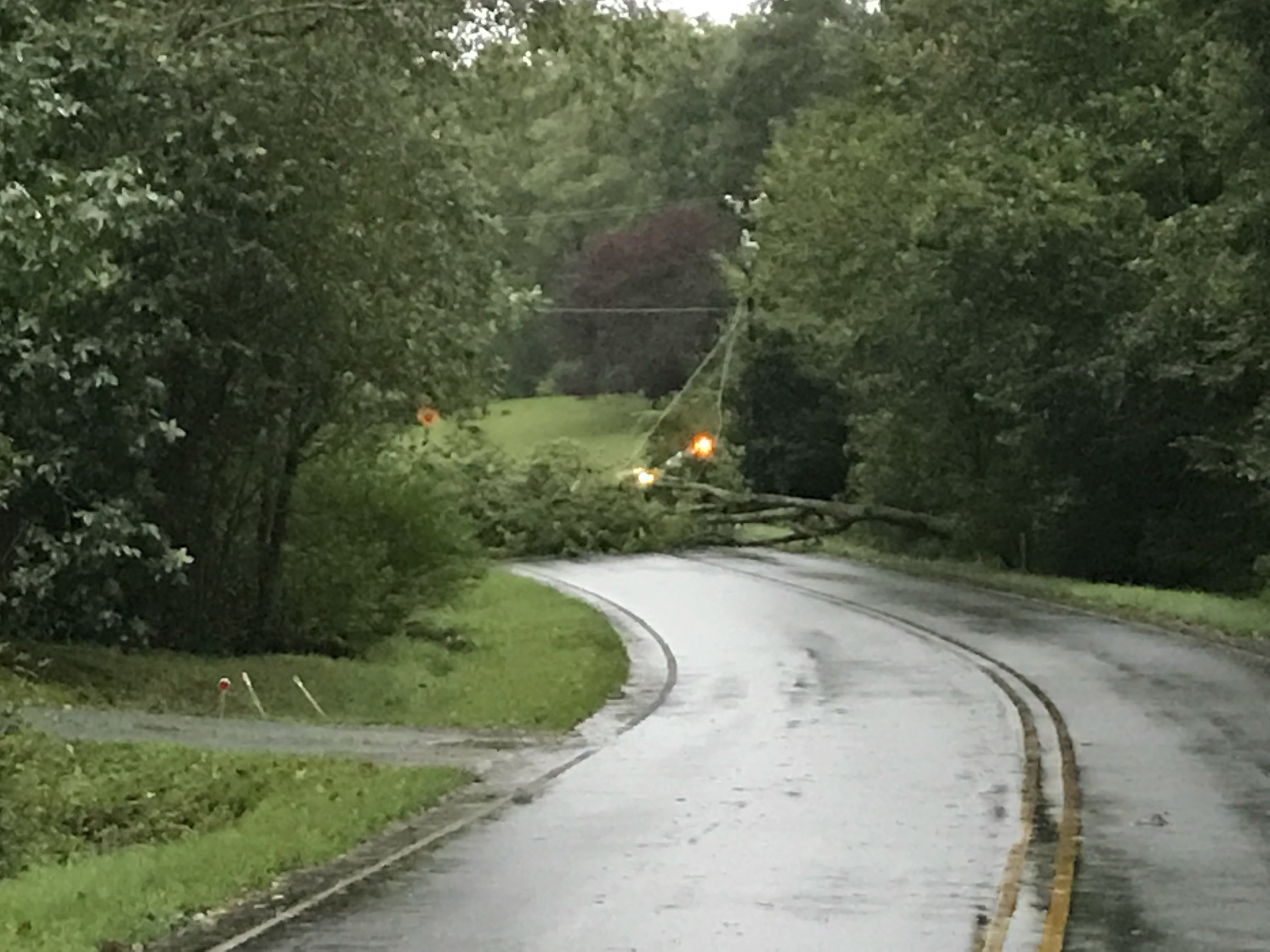 "<div class=""meta image-caption""><div class=""origin-logo origin-image wtvd""><span>WTVD</span></div><span class=""caption-text"">A fallen tree blocks Farrington Point Road in Chatham County and knocks out power in the neighborhood Friday. (Amy Gamber)</span></div>"