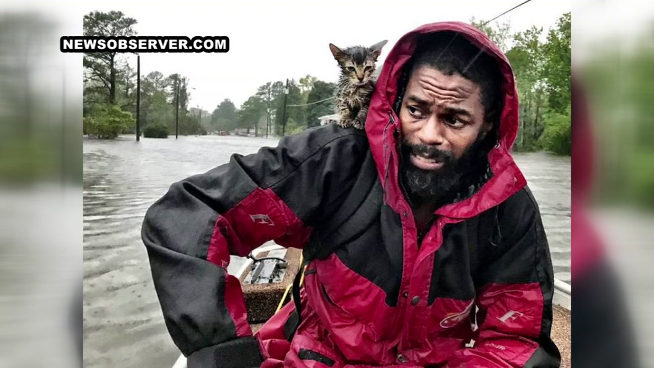 <div class='meta'><div class='origin-logo' data-origin='none'></div><span class='caption-text' data-credit='Andrew Carter/News & Observer'>Robert Simmons Jr. and his kitten, Survivor, are rescued from floodwaters in New Bern, NC after Hurricane Florence dumped several inches of rain in the area overnight Friday.</span></div>