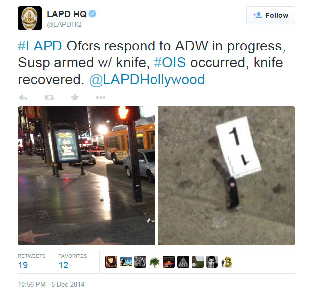 A Tweet from LAPD after police shot and killed a man they say was armed with a knife, seen right, on Friday, Dec. 5, 2014.