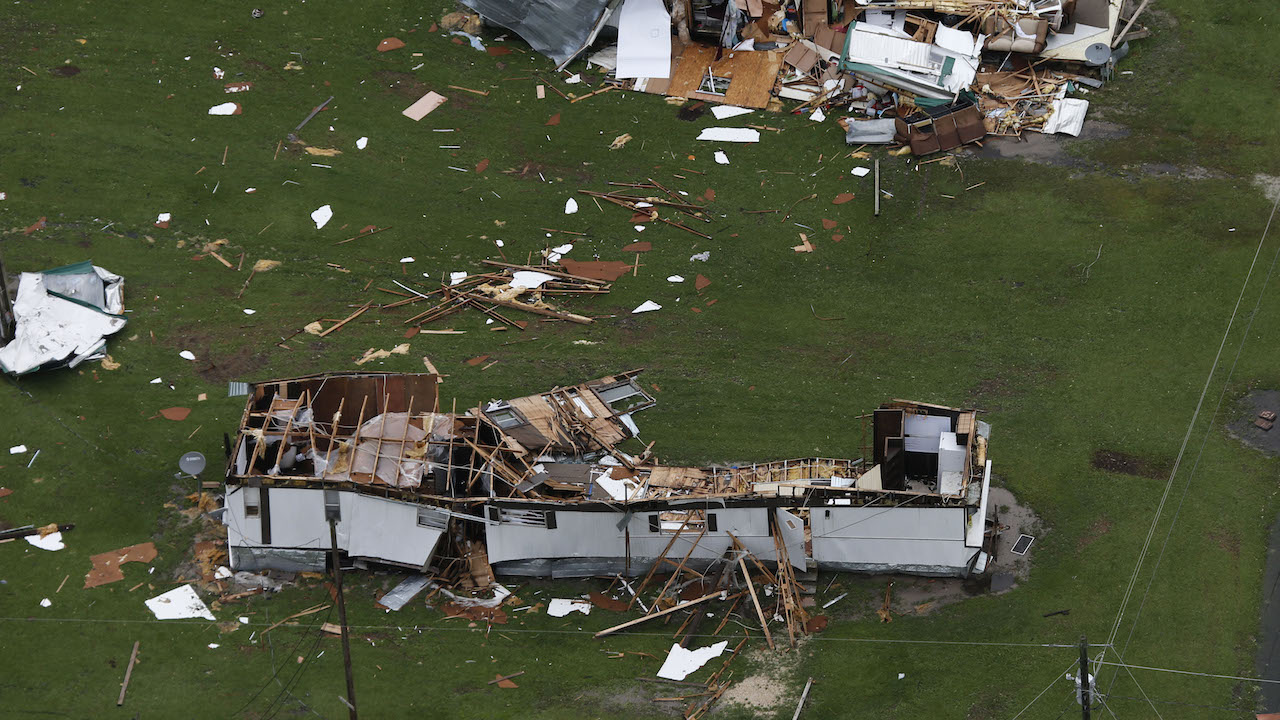 <div class='meta'><div class='origin-logo' data-origin='AP'></div><span class='caption-text' data-credit='AP Photo/Steve Helber'>Damaged mobile homes from hurricane Florence which moved through the area in Jacksonville, N.C., Sunday, Sept. 16, 2018.</span></div>