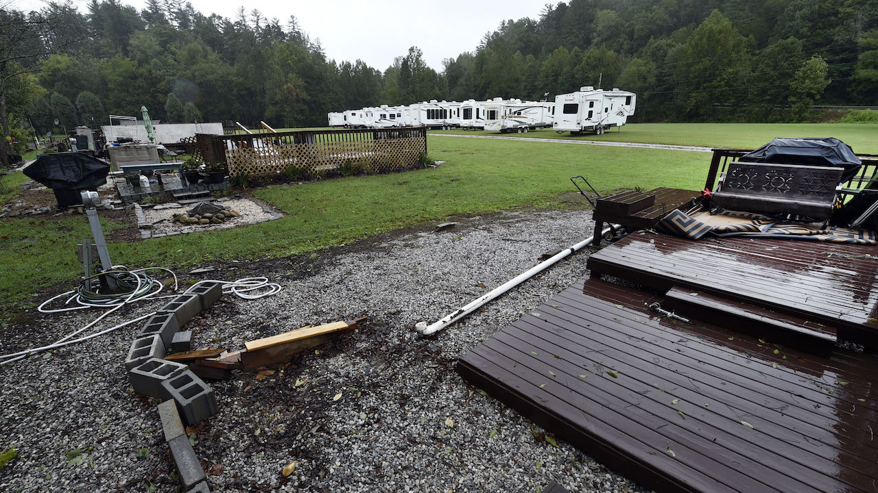 <div class='meta'><div class='origin-logo' data-origin='AP'></div><span class='caption-text' data-credit='AP Photo/Kathy Kmonicek'>Trailers at a park off Route 181 were relocated from their permanent platforms located next to Steele Creek in anticipation of rising water in Morganton, N.C.</span></div>